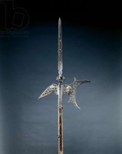 Halberd, c.1600-25 (steel, brass, wood & leather)