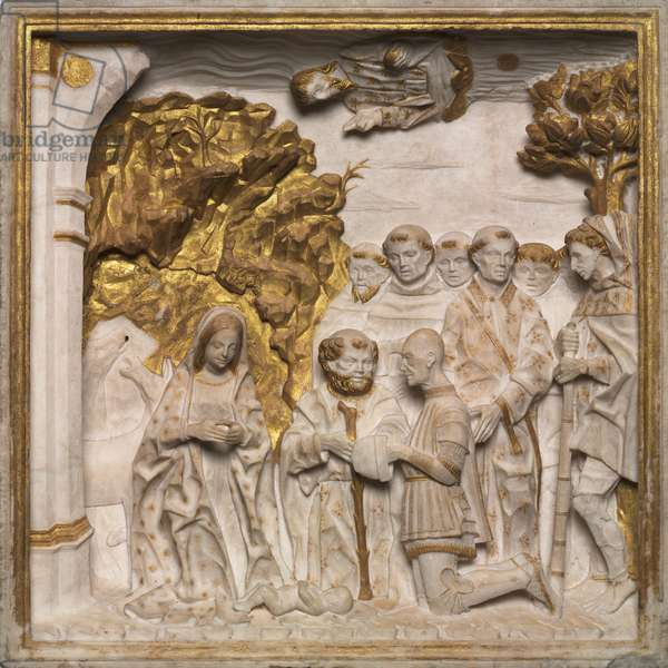 Pier Francesco Visconti, Court of Saliceto, Adoring the Christ Child, c.1484 (marble with gilding)