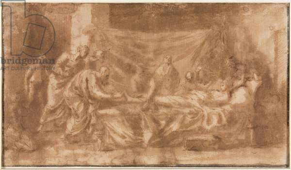 Extreme Unction (recto), 1643-44 (pen and brown ink and brush and brown wash)