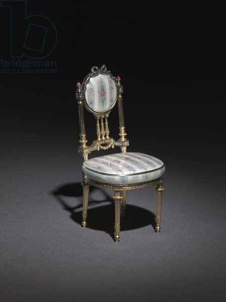 Miniature Chair, 1896-1906 (gold, silver gilt, enamel over engine turned ground simulating brocaded textile, rubies, diamonds) (see also 499669)