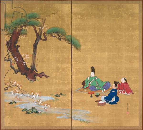 Narihira Viewing the Cherry Blossoms, Two-panel folding screen, late 1800s (ink, colour, lacquer, and gold on silk)