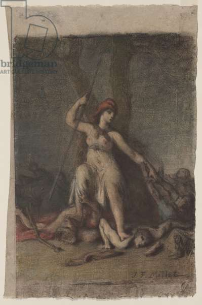 Liberty, c.1848 (black chalk & pastel on paper)