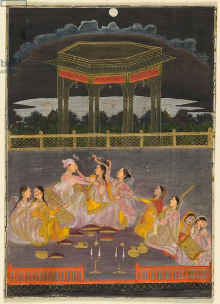 A prince celebrating Holi with palace women on a terrace at night; verso: calligraphy of a quatrain, c. 1760 (opaque watercolor and gold on paper (recto); ink on paper, four lines of Persian poetry (verso))