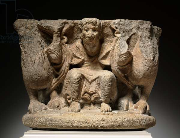 Engaged Capital with a Supporting (Caryatidal) Figure Flanked by Lions, c.1125-1150 (limestone)