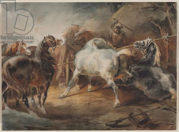 Fighting Horses, c.1820 (watercolour over graphite on paper)