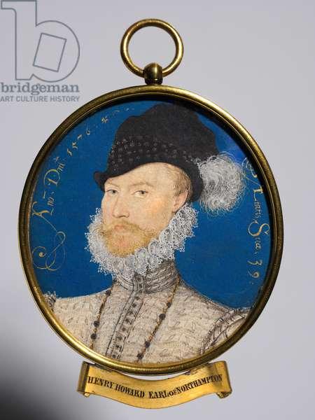 Portrait of Charles Howard, 2nd Baron Howard of Effingham, 1576 (w/c on vellum in a gilt metal frame)