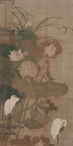 Lotuses, Insects, and Birds, hanging scroll, 1800s (ink and colour on silk)