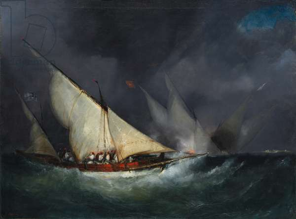 Greek Pirates Attacking a Turkish Vessel (oil on canvas)