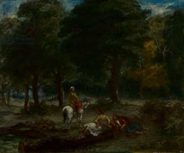 Greek Cavalry Men Resting in Forest, 1858 (oil on fabric)