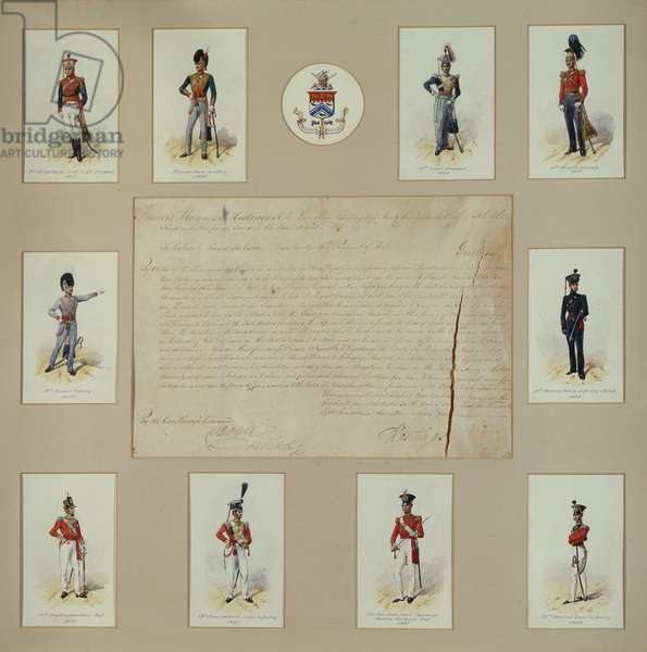 Ten coloured engravings of officers in uniform (coloured engraving)