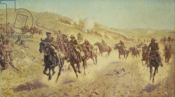 Palestine Campaign: The Action of the 6th Mounted Brigade at El Muhgar, 13th November 1917 (oil on canvas)