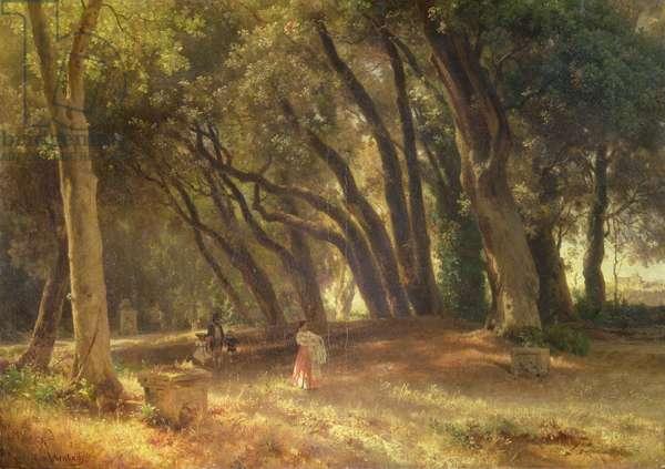 In the Garden of the Villa Borghese (oil on canvas)