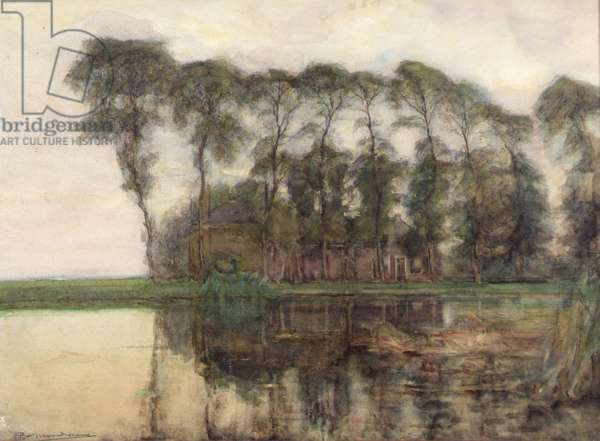 Farmstead along theWater Screened by Nine tall trees , 1905–07 (w/c)
