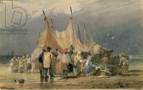 Fisherfolk on a Beach, a Storm Approaching (watercolour)