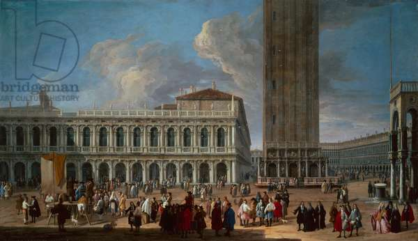 The Piazzetta and the Piazza San Marco, Venice  (oil on canvas)