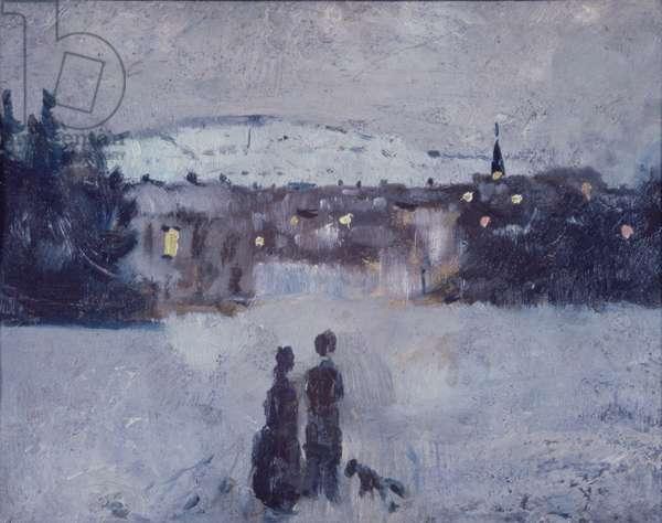 Winter Landscape in Skymning, 1881-82 (oil on board)