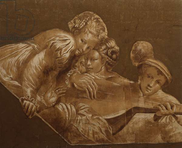 Design for a Ceiling, Youth Playing a Luet with Three Ladies, 1992 (w/c)