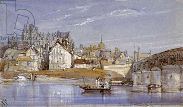 The Chateau at Amboise, on the Loire, 1836 (pencil, w/c & bodycolour on blue paper)