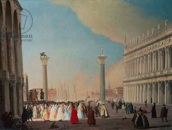 The Piazzetta, Venice, looking South from in front of the Facade of San Marco (oil on canvas)