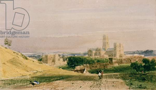 Durham from the Fields, 1830 (watercolour)