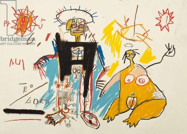 Robotman and Woman, 1982 (oilstick)