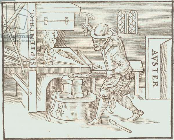 Forging a magnet, from William Gilbert's De Magnete, 1600 (woodcut)