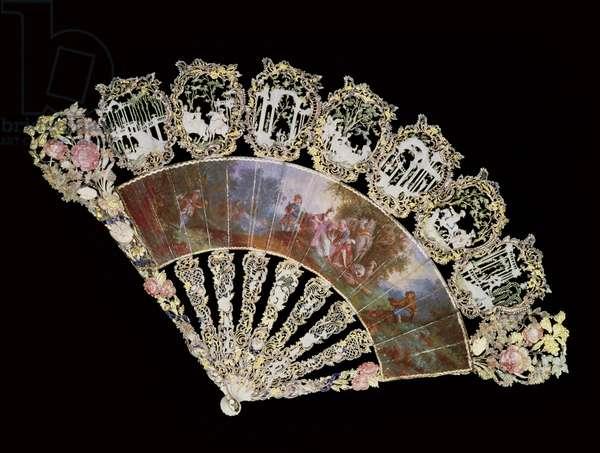 Rococo fan, 1730 (mixed media)