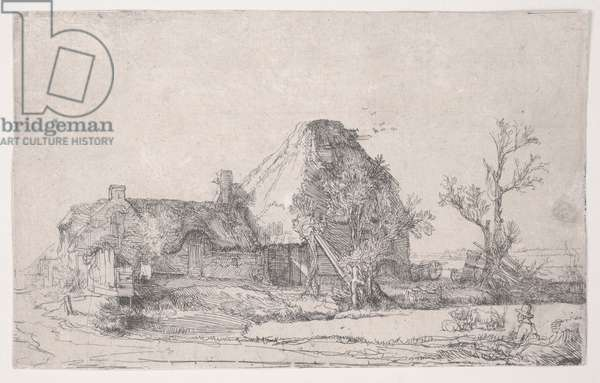 Cottage and Farm Buildings with a Man Sketching, c.1645 (etching)