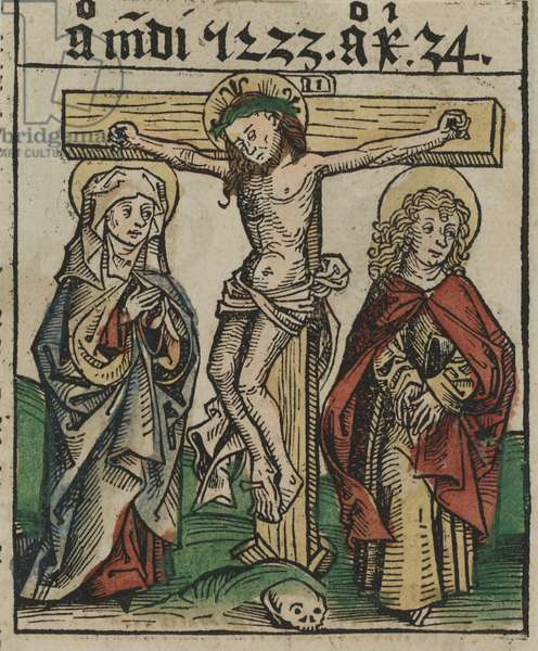The Crucifixion, late 15th century (hand-colored woodcut)
