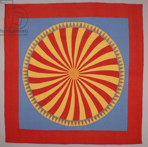 """""""Sunburst"""" quilt, c.1900-20 (cotton)"""