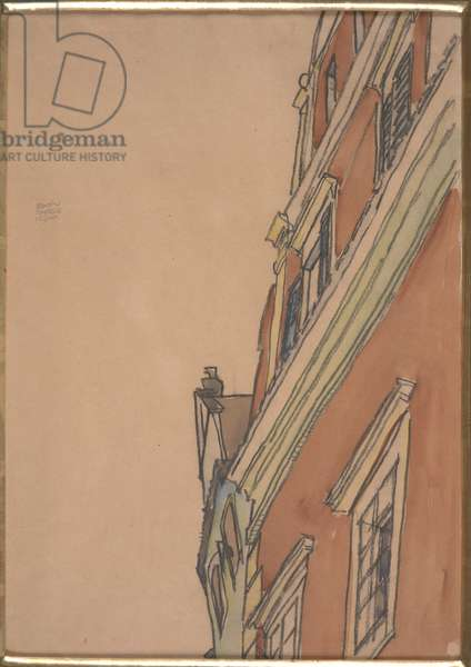 Front View of a Building: Krumau House, 1910 (w/c & pastel on paper)