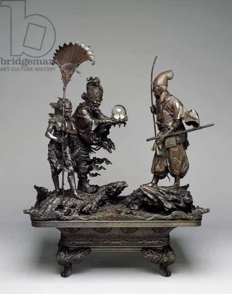 Takenouchi no Sukune Meets the Dragon King of the Sea, Meiji period, 1875-79 (bronze & glass)