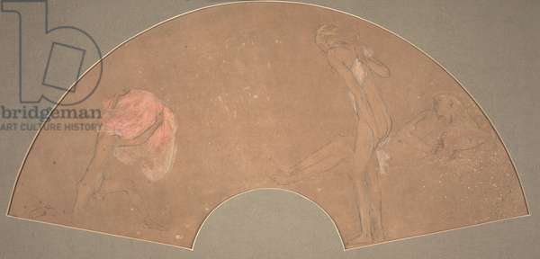 Figural scene (pencil & gouache on brown paper)