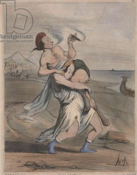 Ancient History, no. 13: The Abduction of Helen (Histoire Ancienne, no. 13: L'Enlèvement d'Hélène), 1842 (hand-colored litho)