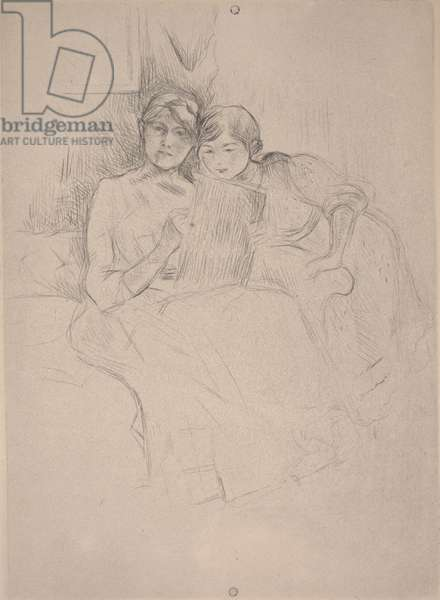 The Drawing Lesson - Berthe Morisot drawing with her daughter, c.1889-90 (drypoint)