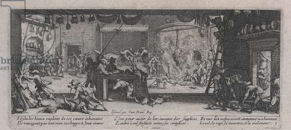 Pillage of a Farm (Le Pillage d'un ferme), from 'The Miseries of War', 1633 (etching)
