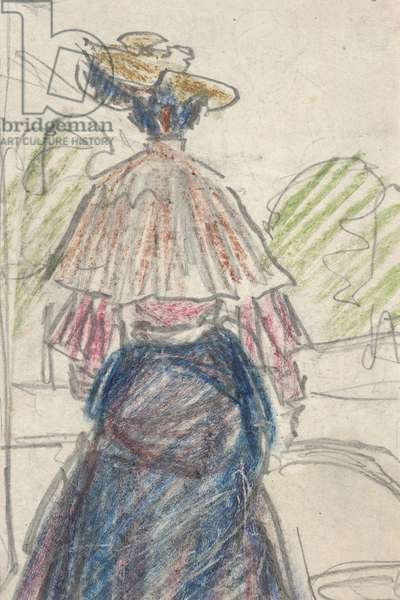 Woman in Landscape Seen From Behind (pencil and crayon on paper)