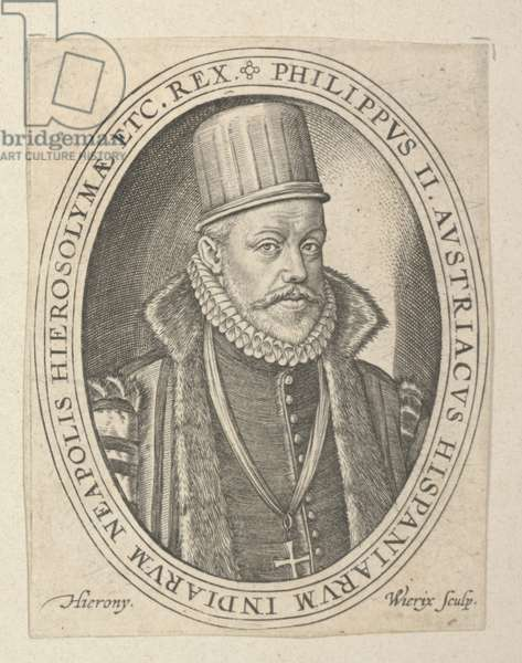 Phillip II of Spain, late 16th-early 17th century (engraving)