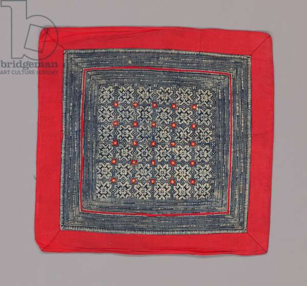 Square from a baby carrier, 20th century (cotton; batik and appliqué on commercially-woven cotton cloth)