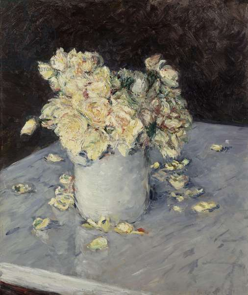 Yellow Roses in a Vase, 1882 (oil on canvas)