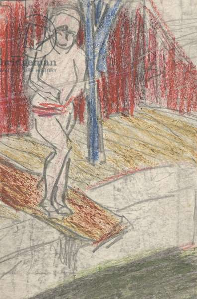 Figure on Diving Board (pencil and crayon on paper)