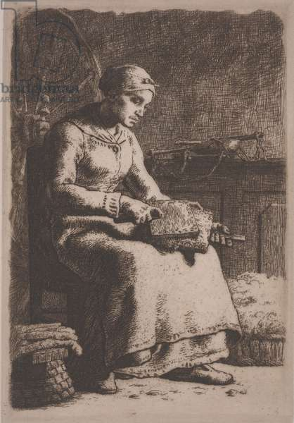 The Wool Carder, c.1856 (etching)