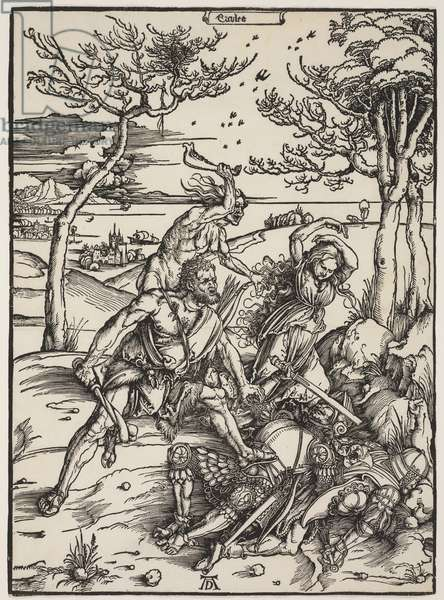Hercules Conquering Cacus, c.1496 (woodcut)