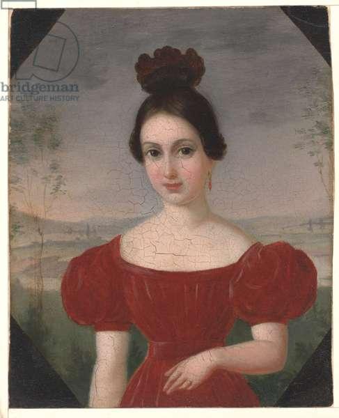 Portrait of Marie Louise Têtu, Madame François Fleischbein, c.1833-36 (oil on mounted paper)