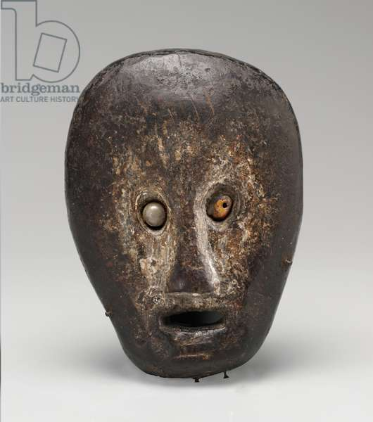 Ceremonial mask (biola), 19th century (wood, chalk lime, resin, nails, and shell inset for eyes)