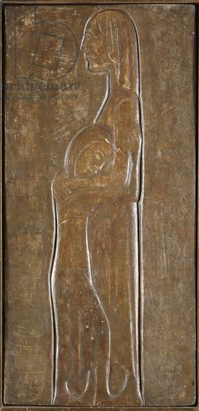 Widow and Daughter: Study for Memorial for the Dead of World War I, 1931 (plaster painted brown)
