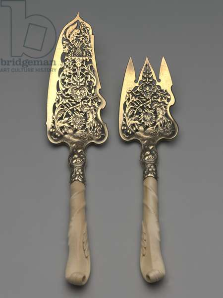 Fish slice and fork, 1892 (silver, gold wash, and ivory)