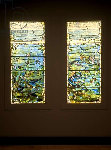 """Window with Starfish (""""Spring"""") and Window with Sea Anemone (""""Summer""""), c.1885-1895 (glass, lead, iron, and wooden frame (original))"""