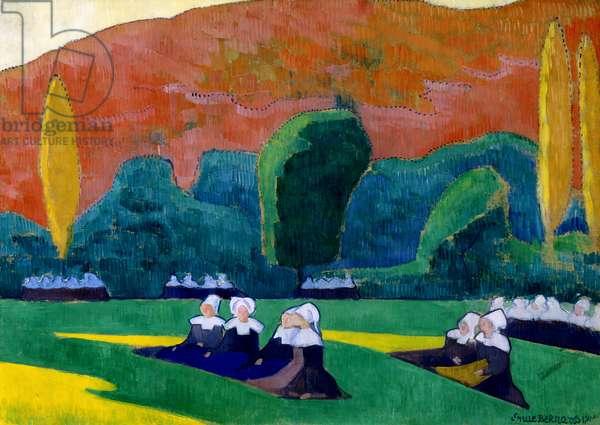 Breton Women Attending a Pardon, 1892 (oil on cardboard)