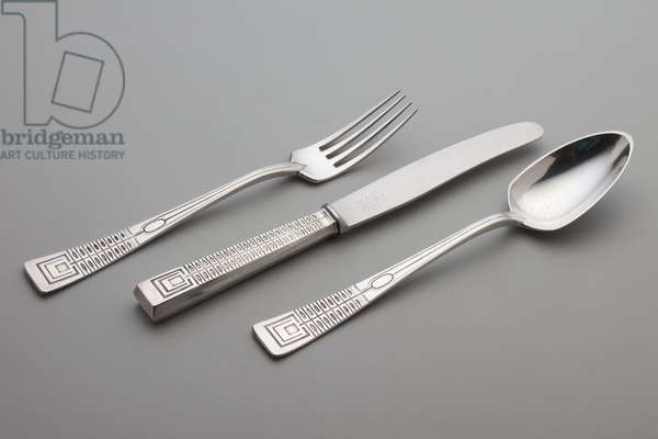 Three pieces of Wertheim-Modell flatware: 1 table knife, 1 table fork, 1 tablespoon, Designed c.1902 (silver)